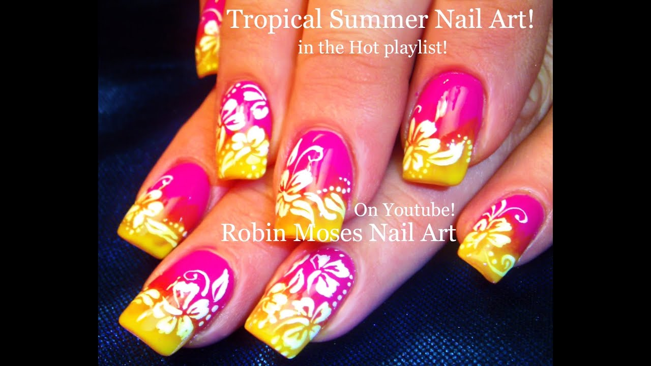 Neon Gradient Nails with White Flower Nail Art Design ...