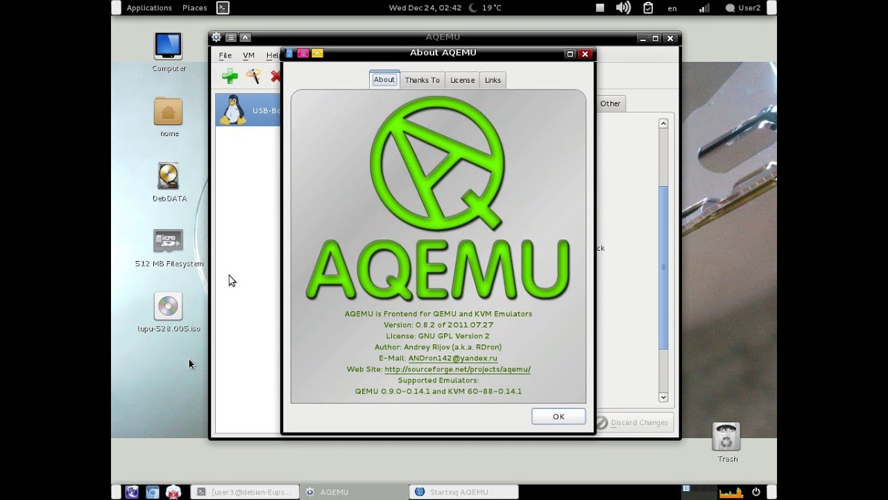 Test if a USB disk is bootable using AQEMU under Linux
