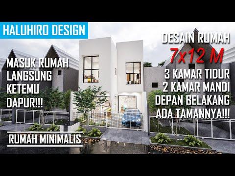 Desain Rumah 7x12 Meter   Dapurnya Ada Di Depan!!! Depan Belakang Ada Tamannya!!!