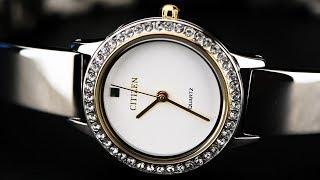 Review đồng hồ Citizen EJ6134-50A phiên bản lấp lánh dy đá pha lê đính trên viền