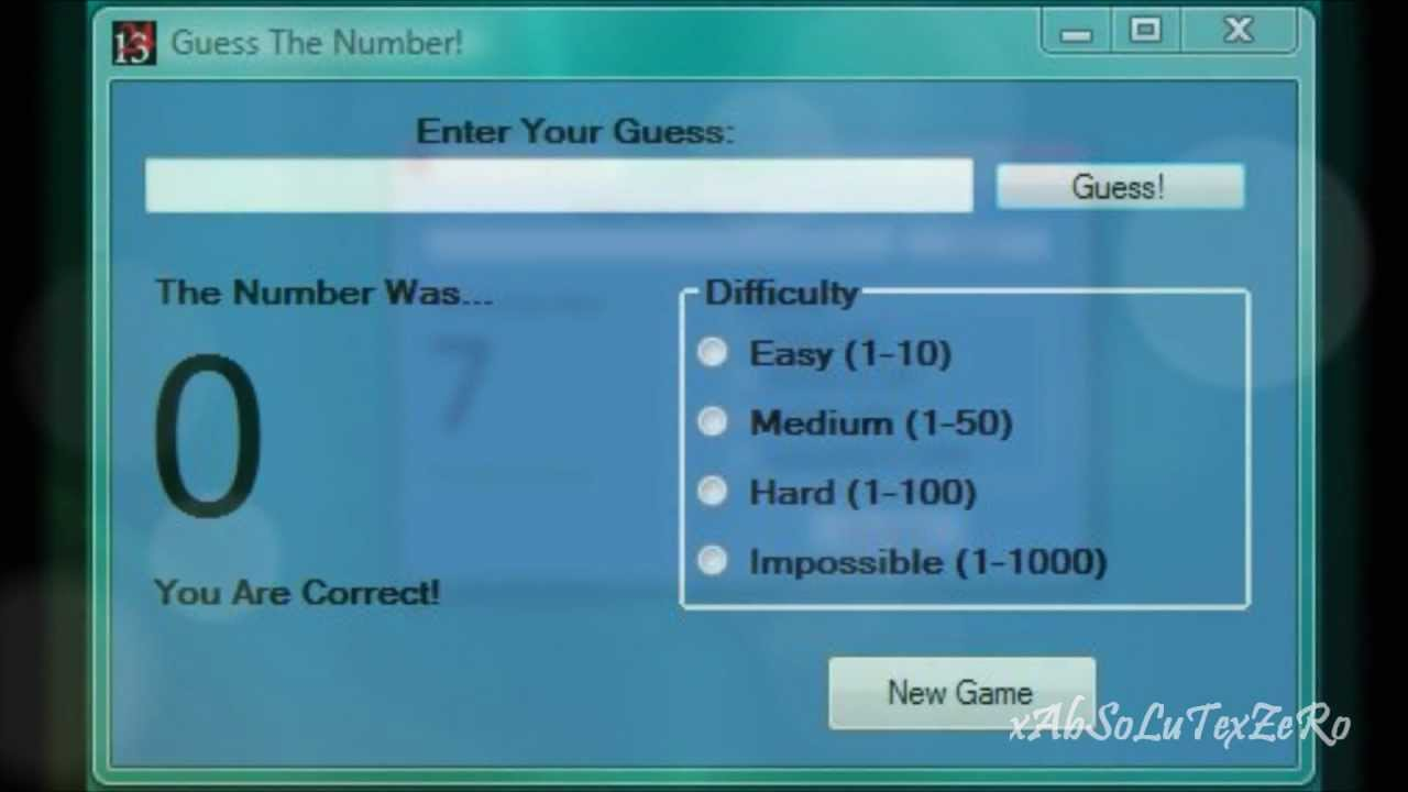 Visual Basic 2010: Guess the Number Game (Code in Description) - YouTube