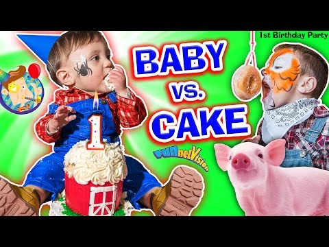 Thumbnail: BABY vs CAKE! Shawn's 1st Birthday Party! Family Games & Activities w/ FUNnel Vision + Presents Haul