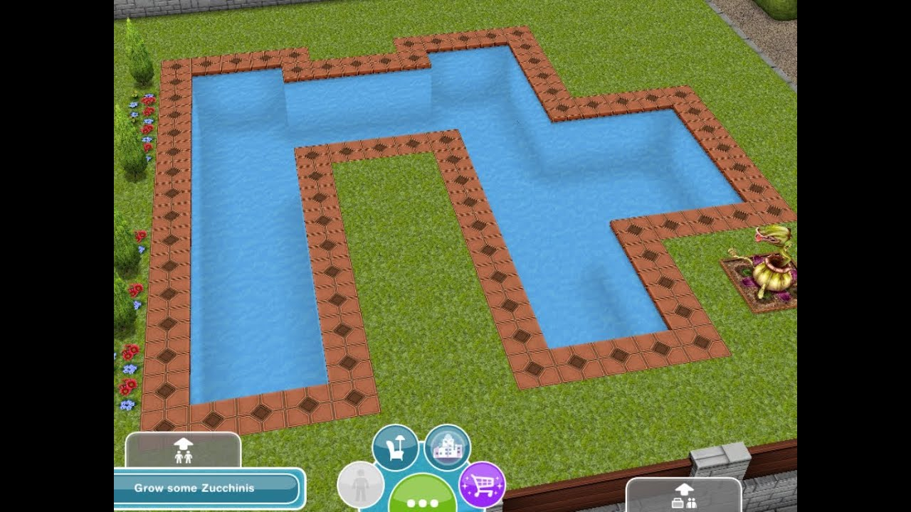The sims freeplay designing building pools youtube for Pool design sims 3