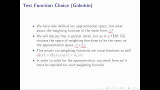 Test Function Choice (Galerkin) M2.4 - Intro to DG