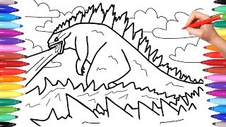 Godzilla Monster Coloring Pages for Kids, How to Draw Godzilla, Godzilla drawing and Coloring