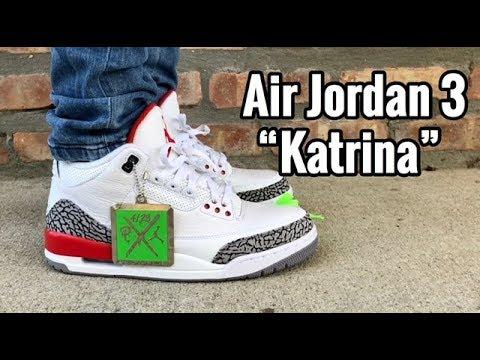 """0828a7b3efce Air Jordan 3 x Sneaker Politics """"Katrina"""" on feet - YouTube"""