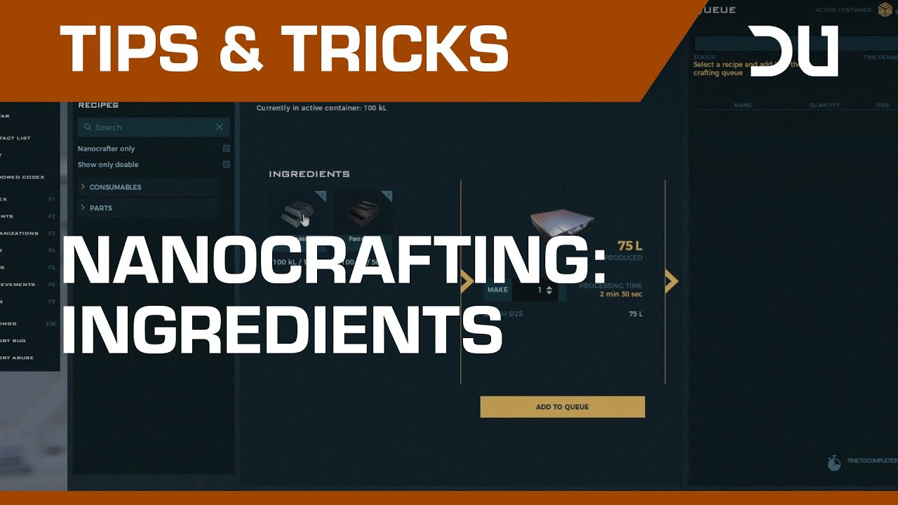 Dual Universe Tips and Tricks - Nanocrafting: Ingredients