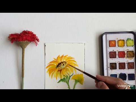 Roses and Sunflowers| Easy watercolor painting for beginners | DIY wall decor ideas