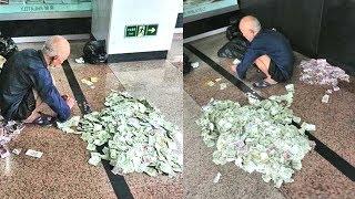 Ông lão ăn xin thuê người đếm tiền trước cửa bưu điện vì xin được quá nhiều tiền