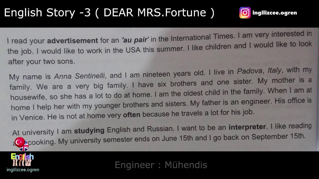 İngilizce hikaye okuyorum - Dear MRS.Fortune (3.Hikaye)