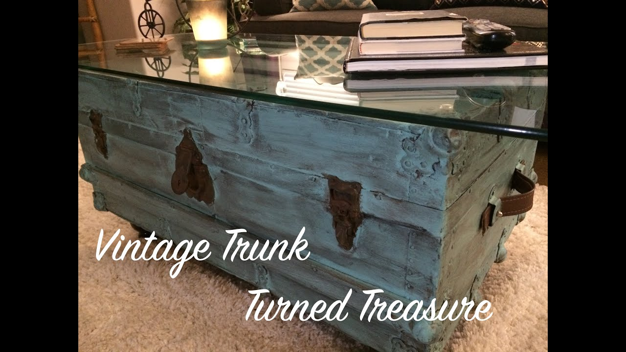 vintage trunk coffee table diy repurposing a thrift store find into a one of a kind coffee table