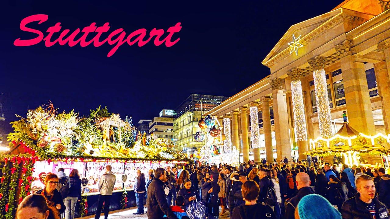 Germany Stuttgart centre Weihnachtsmarkt 2015 4K Christmas market ...