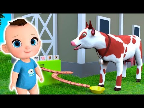 Mike and Animals on a Farm - Baby Feed Cow and Pigs