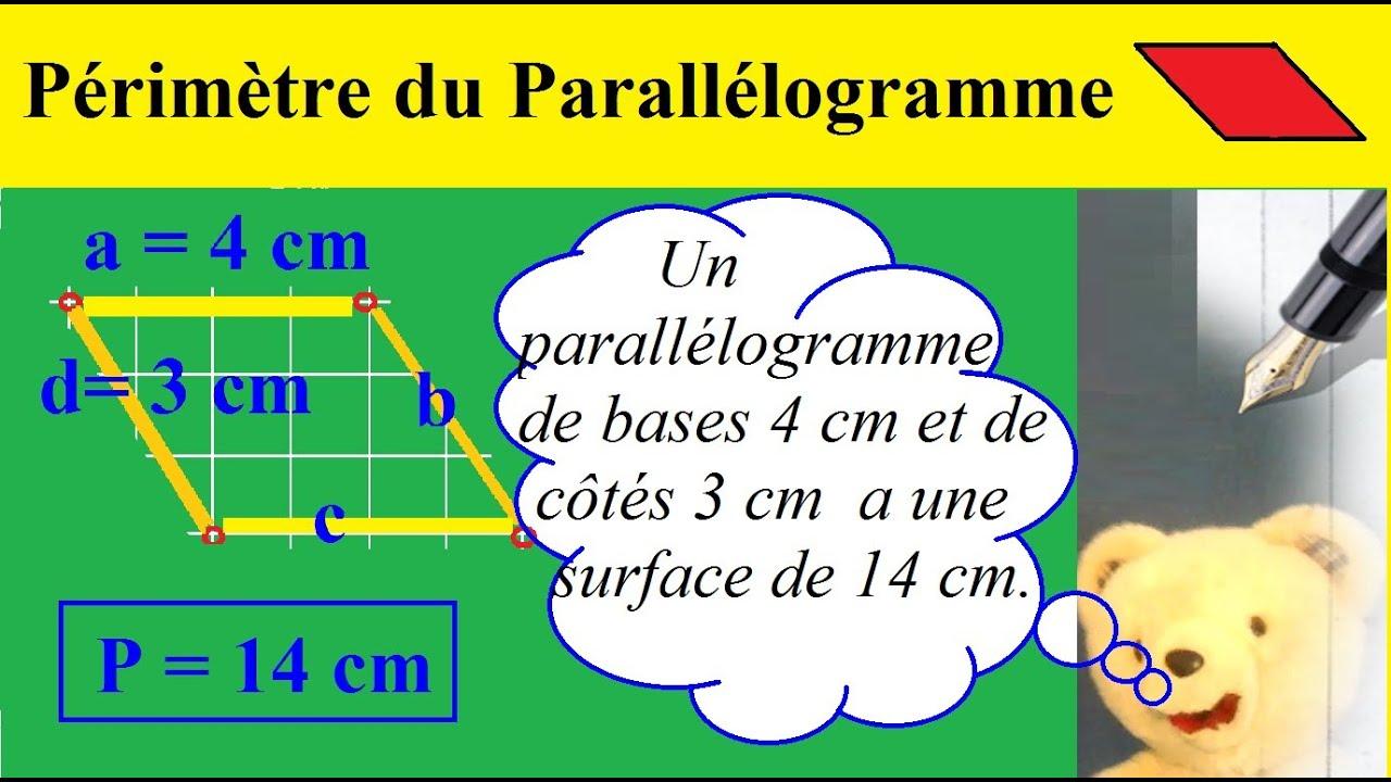calculer le p 233 232 tre du parall 233 logramme propri 233 t 233 s sch 233 et formule