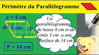 Calculer le Périmètre du Parallélogramme | Propriétés, schémas et formule