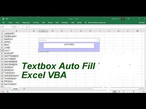 Textbox Auto Fill Userform Excel VBA
