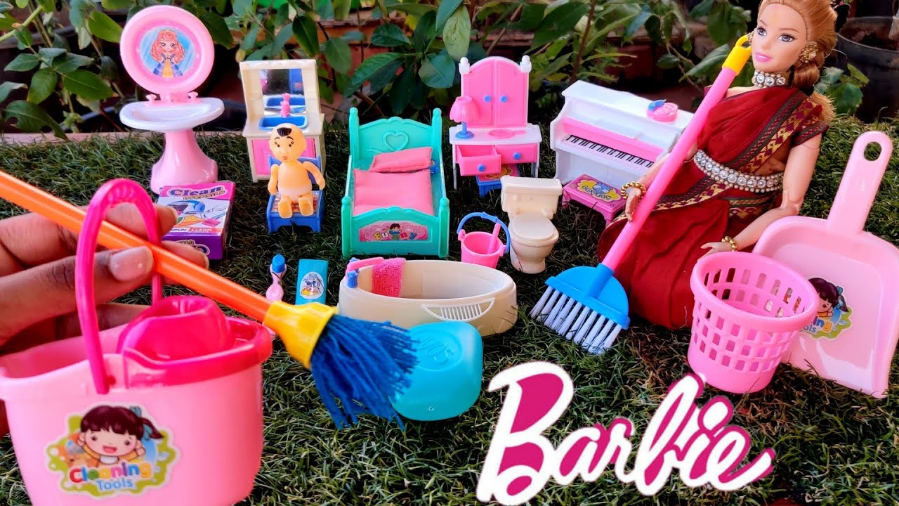 Download Unboxing Barbie home cleaning set |Unboxing barbie home iterm | Unboxing Miniature iterm