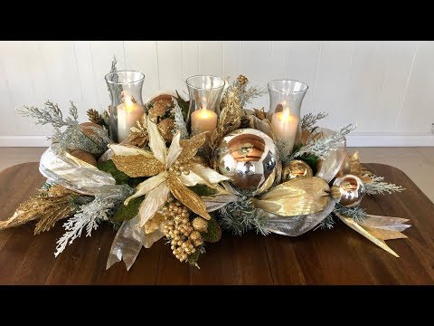 GLAM Christmas Centerpiece In Gold  /Dollar Tree Glam Centerpiece DIY/ Holiday Decor On A Budget