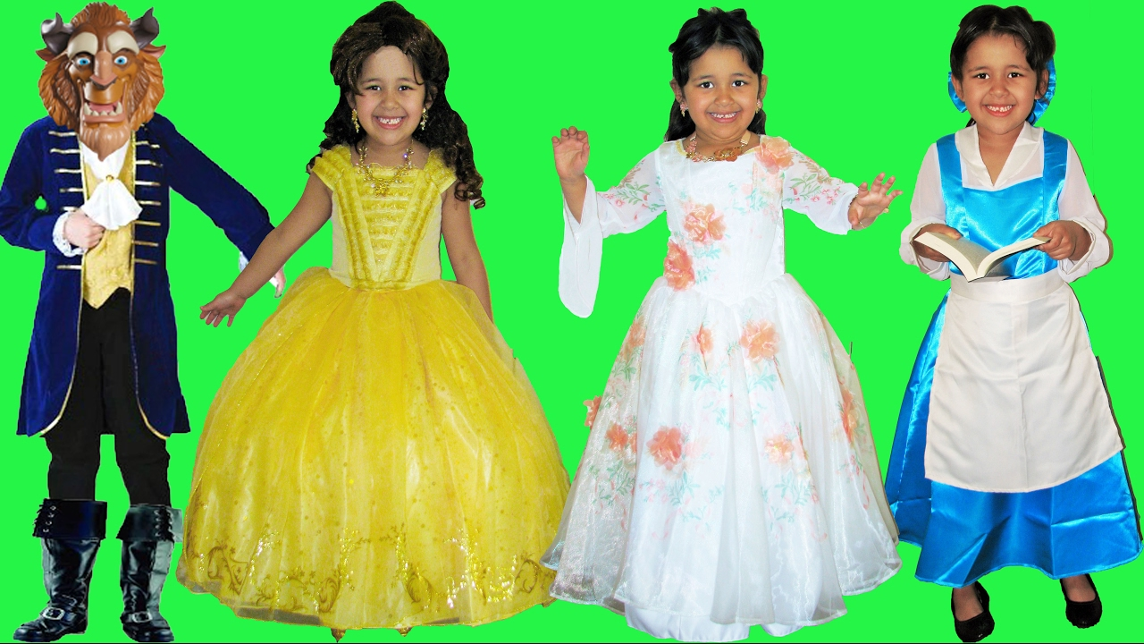 7 Halloween Costumes Disney Princess Belle and Beast from Beauty and the Beast Movie part 1 - YouTube  sc 1 st  YouTube : belle gown costume  - Germanpascual.Com