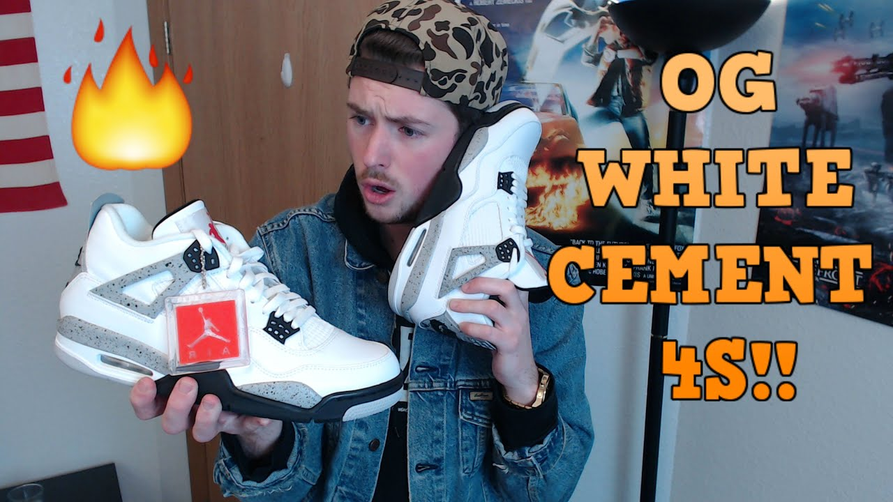 663adcd384a6d3 Nike Air Jordan 4 White Cement OG Unboxing Review with On-Feet Look ...