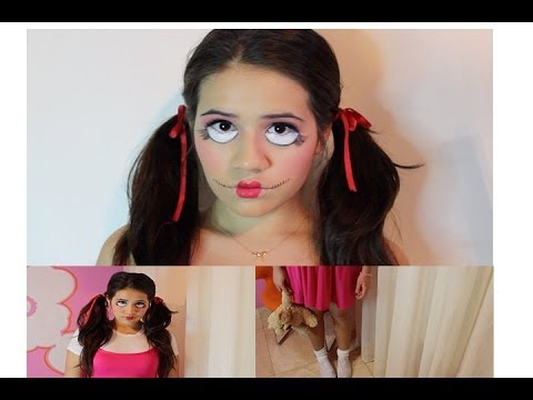 diy creepy doll halloween costume makeup - Quick Scary Halloween Costumes
