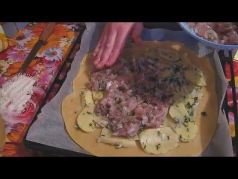 Курник с мясом и картошкой.Очень вкусный пирог.