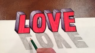 How to DRAW LOVE in 3D Optical Illusion Trick Art