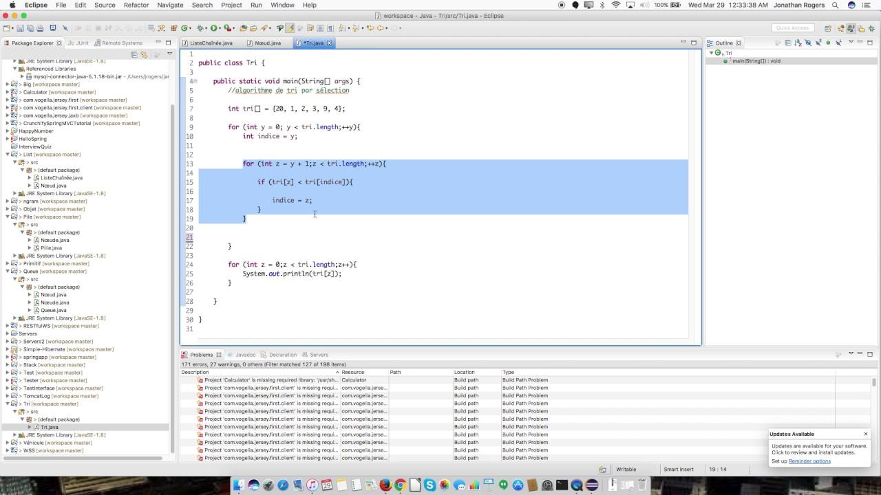 Programmation Java Tri Par Selection Algorithme De Tri Youtube