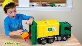 Yellow Bruder Garbage Truck Surprise Toy Unboxing + Playing with Cranes