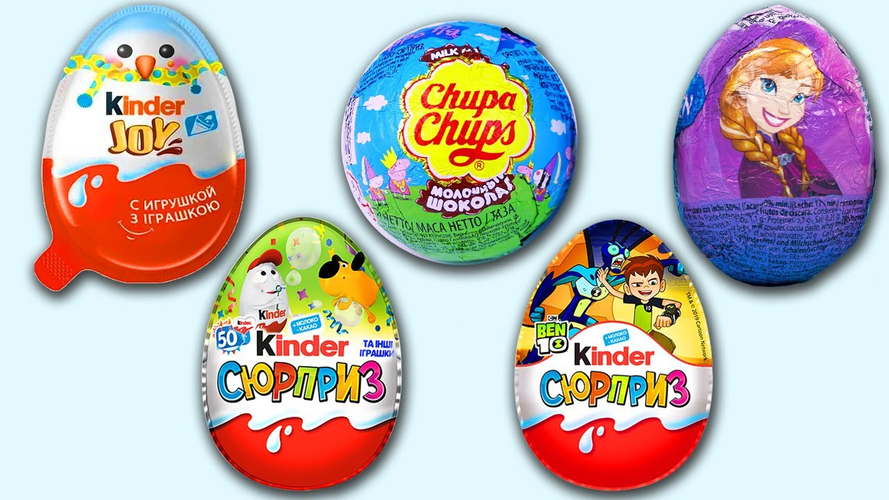 5 Surprise Eggs Ben 10 Kinder Surprise Maya Bee Kinder Joy Miraculous Chupa Chups Peppa Pig