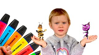 Pretends to play with her Magic Pen Preschool toddler learn color Part#2