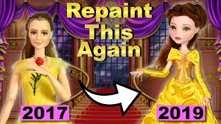 Repaint This Again! - Belle (Beauty and the Beast) inspired Doll Repaint Tutorial