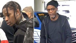 Travis Scott Goes Unnoticed Catching Same Flight As Samuel L. Jackson At LAX
