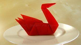 Servietten falten einfach: Origami Schwan falten mit Papier-Servietten - Schnell Tischdeko basteln
