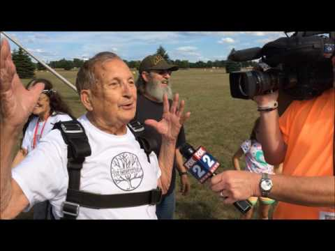 Bob Harris, 86, reacts to skydiving experience