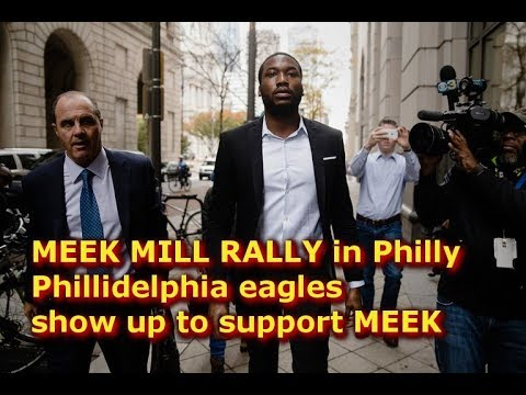 MEEK MILL RALLY in Philly Phillidelphia eagles show up to support MEEK