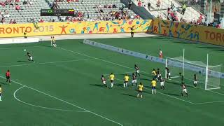a goalkeeper getting kicksd in her lady parts ( cuntbust )