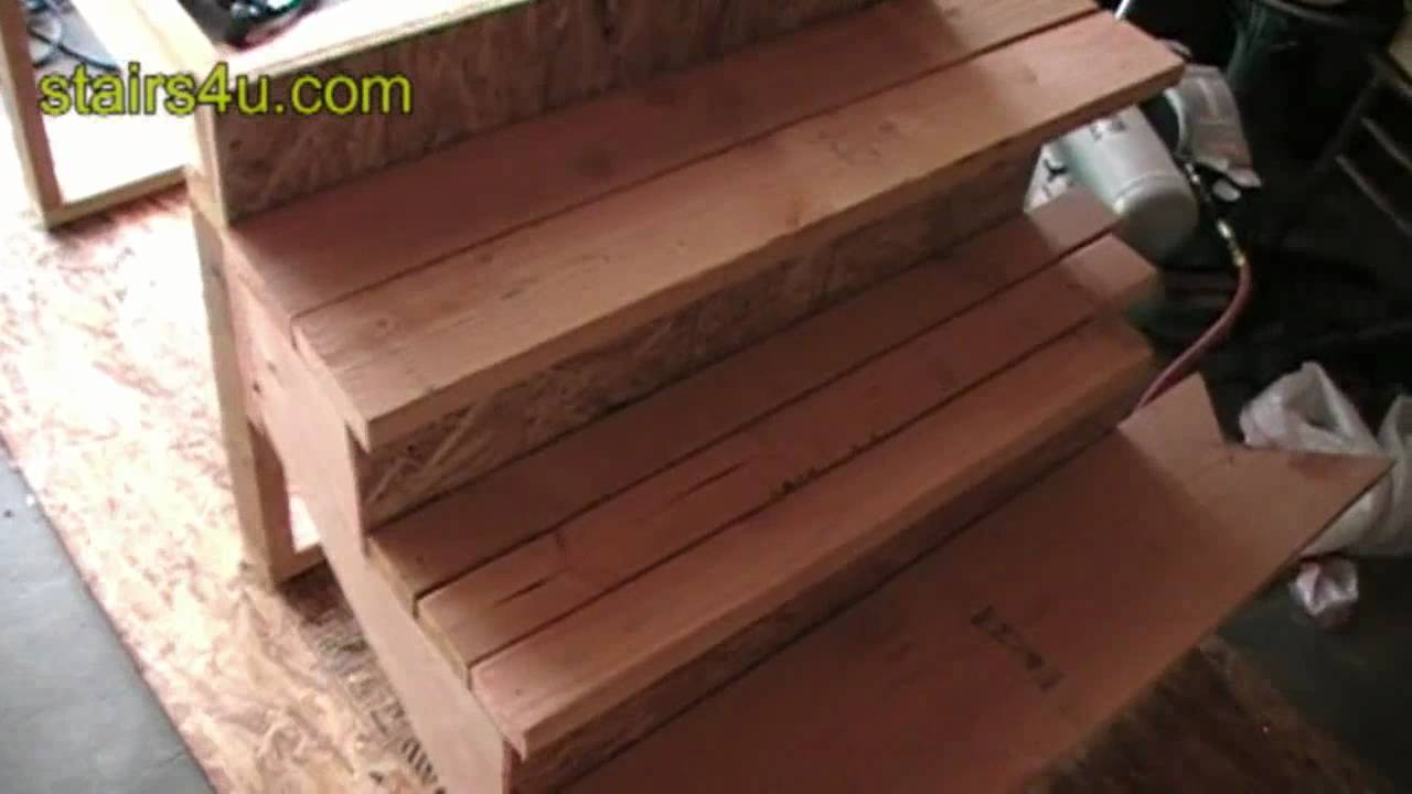 3 Types Of Wood Stair Treads Made From 2X Lumber Youtube   Exterior Wood Stair Treads   Anti Slip   90 Degree   Step   Solid Stringer   Deck