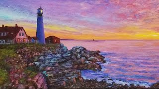 Sunrise Lighthouse Seascape Acrylic Painting LIVE Tutorial