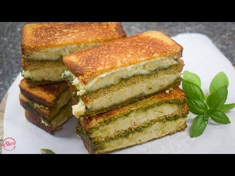 Walnut Pesto & Mashed Potato Sandwich   Creamy and Cheesy Pesto Potato Sandwich