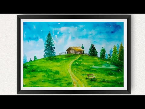 Watercolor painting for beginners easy How to Paint Log Cabin Alpine Hills Scenery Nature Landscape