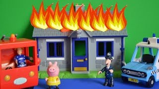 Fireman Sam Rescue Police Station Fire!!!! Peppa Pig Fire Engine Story Kids Animation