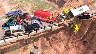 Collapsing Bridge Pileup Crashes #12 - BeamNG Drive Crash Testing