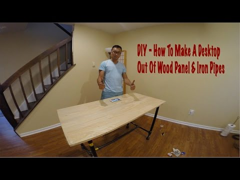 DukePro | DIY How to make a Desktop from Wood panel and Iron pipes