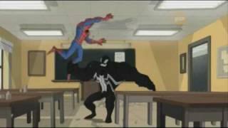 The villains keep grabbing Spidey's leg.