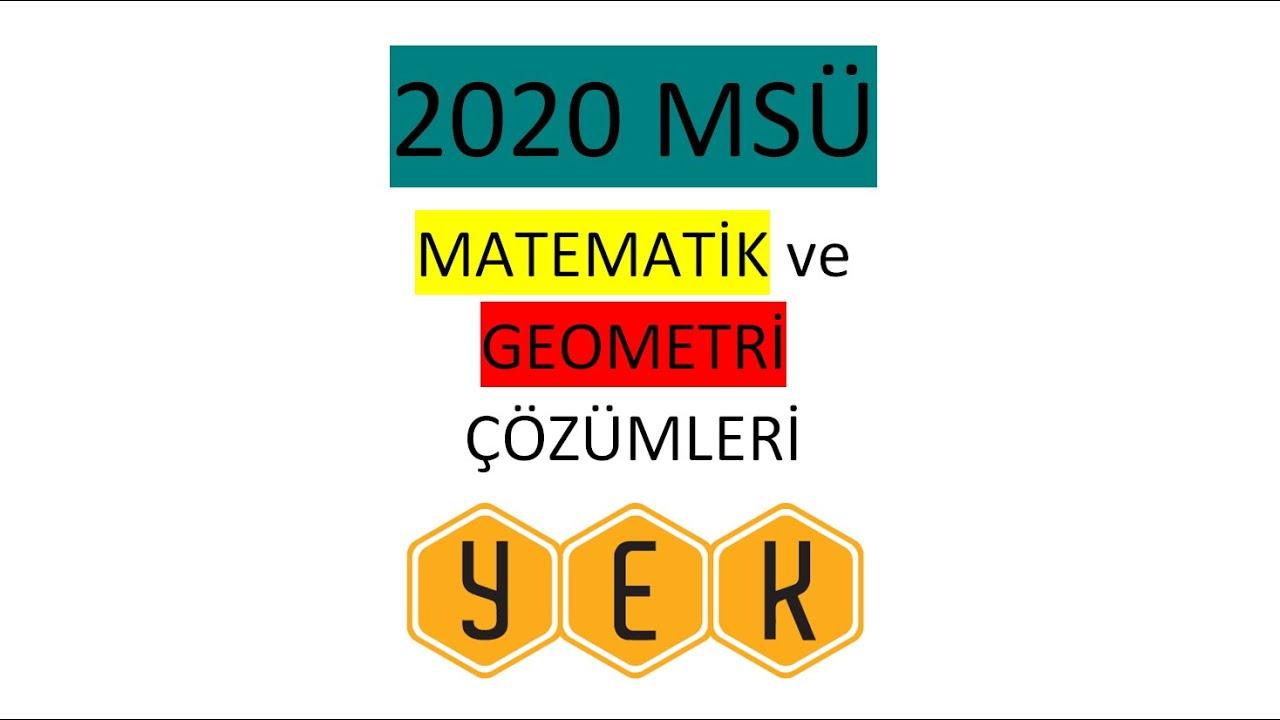 2019 MSÜ Matematik Çözümleri (04.06.2020) @Ali YALÇIN