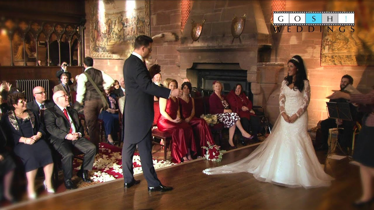 Peckforton Castle Flying Ring Bearer Owl delivers wedding rings
