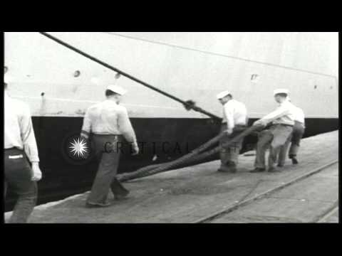 US sailors securing lines of USS Upshur at a dock in Beirut, Lebanon during the L...HD Stock Footage