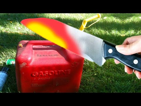 EXPERIMENT 1000 DEGREE GLOWING KNIFE VS GAS CAN FILLED WITH GASOLINE - 동영상