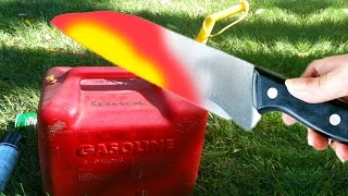 EXPERIMENT 1000 DEGREE GLOWING KNIFE VS GAS CAN FILLED WITH GASOLINE